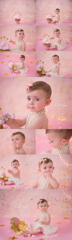 Pretty In Pink First Birthday Cake Smash Session Smash Cake Girl, Birthday Cake Smash, Girl Cakes, Pink First Birthday, First Birthday Pictures, Cake Smash Photography, Girl Photography, Children Photography, First Birthday Photography