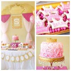 Pink + gold princess themed birthday party on Kara's Party Ideas!