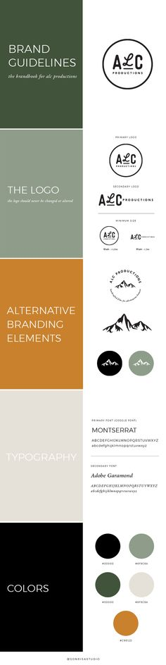 Brand guidelines for the brand identity, logo design creation of a video production company.