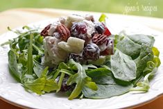 Skinny Chicken Waldorf Salad - serve over baby spinach or as a sandwich!