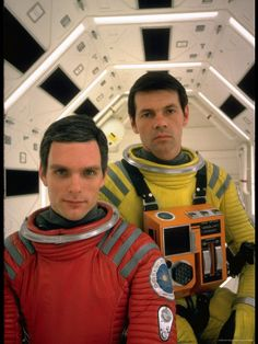 """Keir Dullea (left) with Gary Lockwood (right) on the set of """"2001: A Space Odyssey"""" (1968)"""