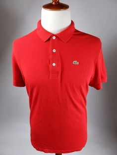 Lacoste France Short Sleeve Polo Rugby Golf Pique 5191L Red Shirt Men 7 2XL #Lacoste #PoloRugby