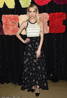 Cover girl: Emma Roberts looked fantastic in a white tank top and floral maxi skirt at a T...