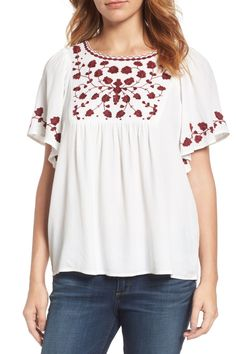 Love the detail on this Lucky Brand Hannah Embroidered Peasant Blouse
