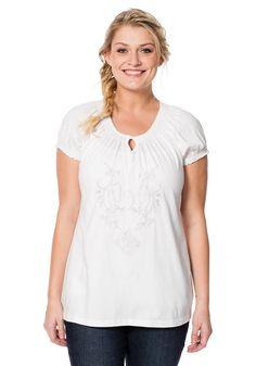Typ , Shirt, |Material , Jersey, |Materialzusammensetzung , 100% Baumwolle, |Anlass , Everyday, |Passform , figurumspielend, |Ausschnitt , elastischer Rundhalsausschnitt, |Ärmelstil , elastisch, |Ärmellänge , kurzarm, | ...