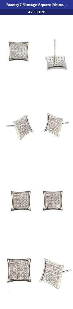 Beauty7 Vintage Square Rhinestone Kite Micro Pave Stud Earrings Masculine Silver Plated Men Women Gift. With the combination of micro pave rhinestones and unique square design, this bracelet is just the thing to make anyone feel special. An wild expression and symbol of masculinity. Best matach for daily and casual wearing. Tips of how to maintenance Earrings 1. Avoid exposure to sunshine directly for a long time. This may speed up the oxidation process and brings damage to the earrings…