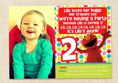 Elmo Birthday invitation  digital file by polkaprints on Etsy, $15,00    ZOOOOO LEUK