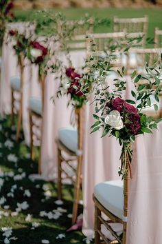 Burgundy wedding chair floral markers with gold chairs Table Decoration Wedding, Outdoor Wedding Decorations, Wedding Centerpieces, Chair Decor Wedding, Table Centerpieces, Table Decorations, Aisle Flowers, Wedding Flowers, Wedding Aisle Outdoor