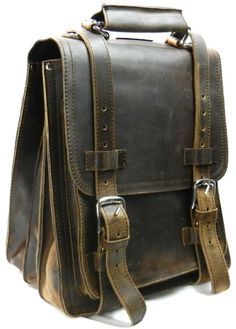 Amazon.com: V.T. Full leather sport motor travel backpack w/three straps L62 (big front pocket). DK Vintage BRN: Clothing