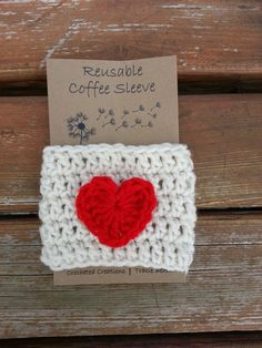 Valentines Day Crochet Coffee Cozy / Sleeve by BabyofftheHook, $6.00