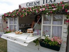 like this way of selling tea with a little hatch. very 'by the sea side' it is stationary so cant be moved. want something that can move around as its more novel.