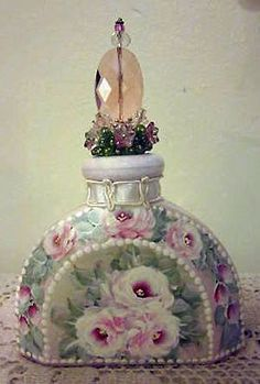 Floral Victorian perfume bottle with prisms and beads