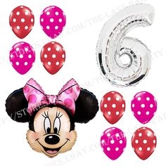 6th Birthday Party Supplies Minnie Mouse Sixth Foil Balloon Polka dots Pink&Red #Disney #BirthdayChild