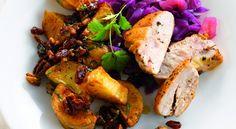 Geroosterde aardappelen met pecannoten, honing en rode