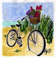 Bicycle at the beach watercolor art Bicycle Painting, Bicycle Art, Decoupage, Watercolor Paintings, Wood Paintings, Beach Paintings, Beach Watercolor, Watercolours, Beach Sketches