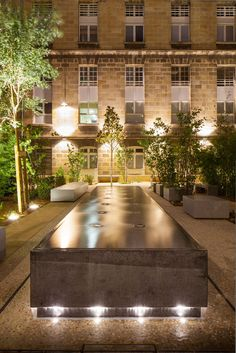 Watertable with illumination. Cour Leyteire in Bordeaux, France by Debarre Duplantiers Associes