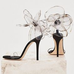 These couture sandals are made from transparent vinyl with inserts in black satin and suede Dream Shoes, Crazy Shoes, Cute Shoes, Me Too Shoes, Stilettos, Stiletto Heels, Shoe Boots, Shoes Heels, Sandal Heels