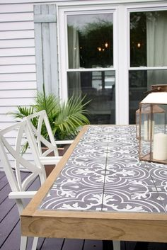 DIY Outdoor Furniture Projects For Your Backyard Wonderful way to incorporate tile into furniture for outdoor living! The post DIY Outdoor Furniture Projects For Your Backyard appeared first on Outdoor Diy. Farmhouse Outdoor Dining Tables, Outdoor Table Tops, Diy Outdoor Kitchen, Outdoor Table Plans, Outdoor Cooking Area, Diy Dining Table, Diy Farmhouse Table, Outdoor Planters, Diy Kitchen