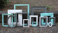 Set of 13 Upcycled Picture Frames - White, Gray & Mint $180.00