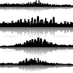 2d51a581c86 Image result for Images of city skyline silhouettes on border wallpaper  Cityscape Silhouette, Night City