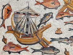 Detail of the Lod mosaic showing a roman ship. Roman period c. 300 AD. Found in Lod, Israel