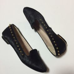 Zara Black Cow Hair Studded Loafers Black cow hair loafers with gold pointy-studs with gold metallic accents on the heels. Worn a handful of times. Like new condition. NO PP. NO Trades. No exceptions. Zara Shoes Flats & Loafers