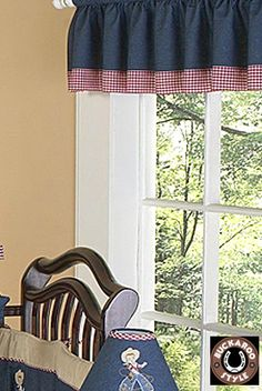I like this valance a lot and it's only 14.99! I'd have to get 2 and 2 sets of curtains too that match...dark blue denim? not sure...