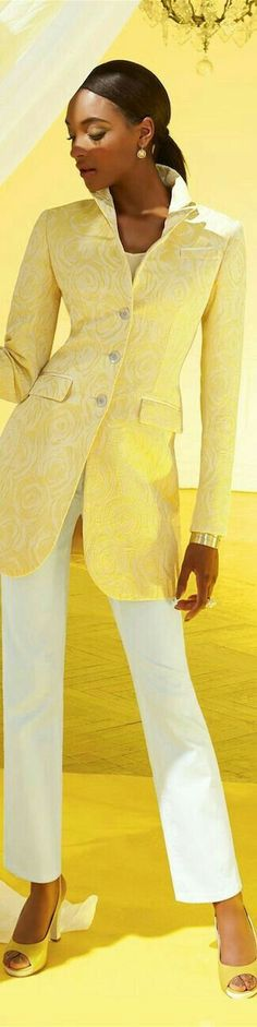 @roressclothes closet ideas #women fashion outfit #clothing style apparel yellow blazer, white trousers