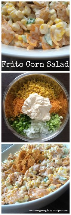 2 cans corn, drained 1/2 cup chopped celery 1/2 cup chopped red onion 1/2 chopped orange bell pepper 1 cup mayo 1 1/2 cups shredded cheese 10 oz bag Chili Cheese Fritos Directions Mix together all ingredients except the Fritos. Refrigerate until ready to serve. Stir in Fritos until well blended when serving