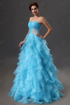 Eveing dress A-line Sweetheart Strapless Organza Ruffles Beadings Zipper Back Evening Gowns