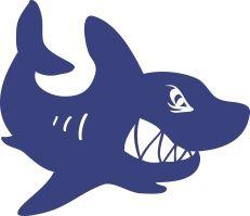 Michas Stoffecke - Velours-Motiv - wütender Hai dunkelblau A-VJP-185-W