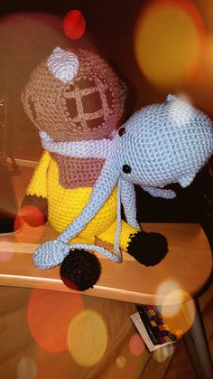 Deep Sea Diver and Squid by yayasknitsncrochet on Etsy