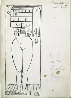 Louise Bourgeois, Femme Maison, 1947.  Ink and pencil on paper.    Foun