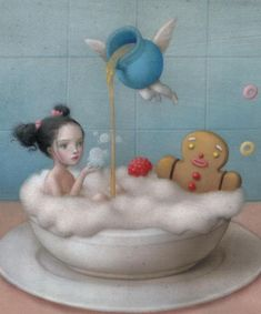 Nicoletta Ceccoli: Eat me, drink me Colorful fantasy surreal fine art. Nicoletta Ceccoli: Eat me, drink me Colorful fantasy surreal fine art. Mark Ryden, Arte Lowbrow, Art Fantaisiste, Warrior Drawing, Audrey Kawasaki, Creepy Cute, Weird Art, Whimsical Art, Surreal Art
