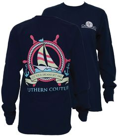 Southern Couture Dreams Set Sail Boat Anchor Comfort Colors T-Shirt Available in sizes- S,M,L,XL,2X