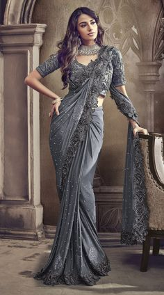 Grey designer sarees Buy Latest Trends Ruffle Custom Made Designer Traditional Party Saree in USA and Canada by Trendylehenga Couture Buy Online Designer Collection, :Call/ WhatsApp us 77164 . Saris, Saree Designs Party Wear, Party Wear Sarees, Saree Blouse Patterns, Saree Blouse Designs, Indian Dresses, Indian Outfits, Fashion Week, Look Fashion