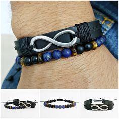 Kit 2 Pulseiras Masculinas Couro Infinito Lapiz Lazuli mens bracelets fashion style cocar brasil