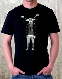 Men's Screen Printed Tshirt Street Art Moped by CrawlSpaceStudios. $22.50, via Etsy.