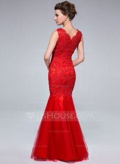 01518f29d9b9 Trumpet Mermaid Scoop Neck Floor-Length Appliques Lace Zipper Up Regular  Straps Sleeveless Red Fall General Plus Tulle Evening Dress
