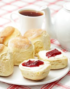 A traditional Devonshire tea: tea and scones with jam and clotted cream. I must try this sometime.