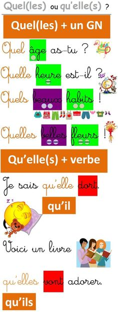 Une affiche pour les homophones quel(les) et qu'elle(s) A poster for the homophones what (s) and what it (s) French Verbs, French Grammar, Teaching French, Les Homophones, French Education, French Classroom, French Language Learning, English Language, Fle