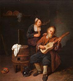 """Antwerpen 1612 - 1661  """"Gitaarspeler""""  Paneel Datering: 1641 52 x 47 cm Inv.nr. 164-1946, Cat. nr. 141  De veer op de hoed van de vrouw karakteriseert haar als lichtzinnig. Zij drinkt (Smaak), rookt (Reuk), port de man met haar pijp (Gevoel), terwijl hij gitaarspeelt (Gehoor). Alleen Gezicht ontbreekt, en dit kan hebben gestaan op een afgesneden deel van de achtergrond links."""