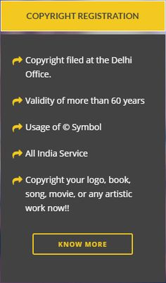 We help with Copyright Registration which provides the author and the owner of any copyrightable work exclusive rights over its use all over India.