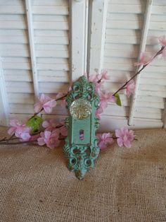 (Rustic Aqua Blue Green Cast Iron Glass Doorknob) The entrance to my secret garden. -KML