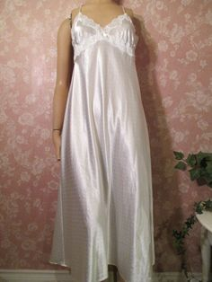 Vintage Nightgown White Satin Dots Long Irridescent M Sequin Faux Pearl Linea Donatella: Removed Satin Nightie, Vintage Nightgown, Cute Pajamas, Night Wear, Persephone, Nightgowns, Vintage Lingerie, White Satin, Pjs