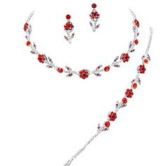 Elegant Red 3 Piece Crystal Bridesmaid Bridal Necklace Earring Bracelet Set Wedding Bling L3 -- Check this awesome product by going to the link at the image.
