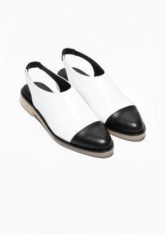Slingback Leather Flats   White