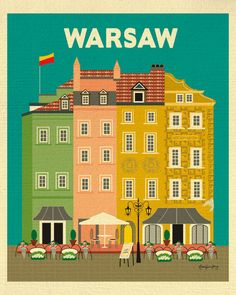 Warsaw, Poland Vertical Wall Art Print - Graphic Design hand illustrated by local artist - E8-O-WAR