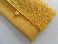 Quilted, Vibrant Yellow Clutch Bag, with Yellow Bead Detailing £22.00