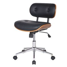 MODERN BLACK FAUX LEATHER SWIVEL OFFICE CHAIR WITH CUSHION SEAT BACK